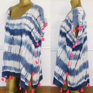 NWT SURF GYPSY Tasseled TIE-Dye COVER-UP DRESS S